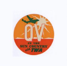 Airline luggage label TWA pretty label  #047